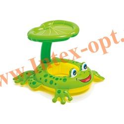 INTEX 56584 Надувной круг с трусиками и навесом Froggy Friends Shaded Baby Float 119х79 см(от 1 года)без насоса
