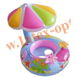INTEX 56583 Надувной круг с трусиками и навесом Fish and Friends Baby Float 112х64 см(от 1 года)без насоса