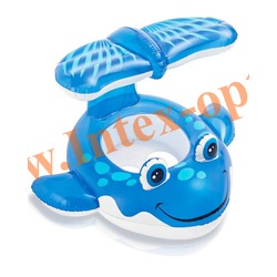 INTEX 56593 Надувной круг с трусиками и навесом Whale Baby Float 104х84 см(от 1 года)без насоса