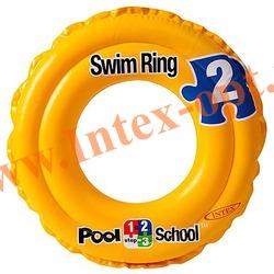 INTEX 58231 Круг надувной для плавания Deluxe Swim Ring Pool School Step 2 Ø 51 см(от 3 до 6 лет)без насоса