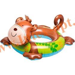 INTEX 58221 Круг надувной для плавания обезьянка Big Animal Rings 66х56 см(от 3 до 6 лет)