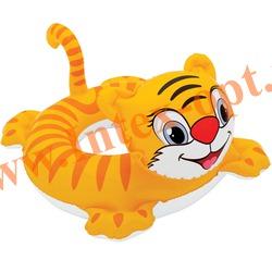 INTEX 58221 Круг надувной для плавания тигр Big Animal Rings 76х57 см(от 3 до 6 лет)