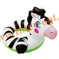 INTEX 59220 Круг надувной для плавания зебра Animal Split Rings 64х53 см(от 3 до 6 лет)