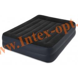 INTEX 64124 Двуспальная надувная кровать PILLOW REST RAISED BED 152x203x42см (со встроенным насосом 220В)