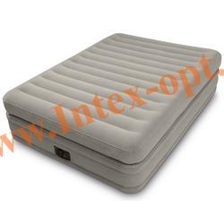INTEX 64446 Двуспальная надувная кровать Prime comfort elevated airbed 152х203х51см (со встроенным насосом 220В)