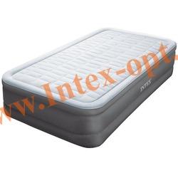 INTEX 64482 Односпальная надувная кровать PremAire Elevated Airbed 99х191х46см (с встроенным насосом 220В)