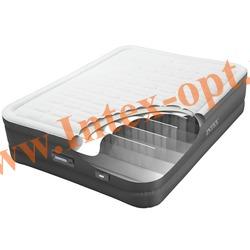 INTEX 64484 Двуспальная надувная кровать PremAir Elevated Airbed 137х191х46см (со встроенным электронасосом 220В)