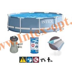 INTEX 28712 Бассейн каркасный круглый 366х76 см (с фильтр-насосом 220В)