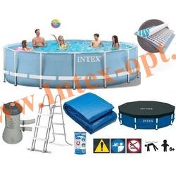 INTEX 28734 Бассейн каркасный круглый 457х107 см (видео,фильтр-насос 220В, лестница, тент, настил)