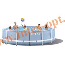 INTEX 28752 Бассейн каркасный круглый 549х122 см (видео, фильтр-насос 220В, лестница, тент, настил)