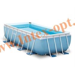 INTEX 28318 Бассейн каркасный прямоугольный 488х244х107 см (видео, фильтр-насос 220В, лестница, тент, настил)