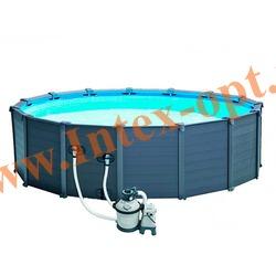 INTEX 28382 NEW Бассейн каркасный круглый 478х124 см Graphite Grey Panel Pools (видео, песочный фильтр-насос 4,5m3, лестница, тент, настил)